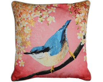 Cushion cover for throw pillow with bird - Nuthatch - 16x16inch // 40x40cm