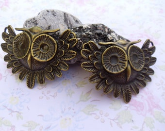 2x (41mm x 56mm) Antique Bronze Lovely Owl Charms