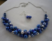 Royal Blue and Silver Cluster Necklace and Complimentary Earrings