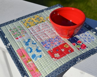 Handmade Quilted Patchwork Scrappy Love Letters Mini Quilt Mug Rug Table Mat Mug Mat Snack Mat Shabby Chic Dresser Mat Cottage Style