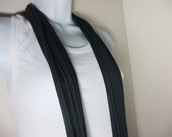 Black T Shirt Jersey Multi Strand Infinity Scarf - Men Women - Circle Scarf - Eternity Scarf