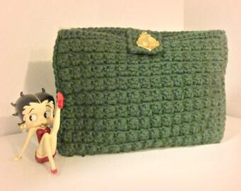 Green Crocheted Clutch Handbag Costmetic Bag Deep Forest Green Purse