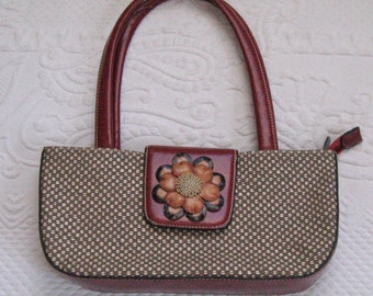 Textured Purse with Leather Flower / Little Handbag