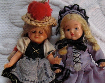 Souvenir Dolls . Two German Souvenir Dolls . Black Forest doll . Heilbronn Kaetchen doll . 60s souvenir dolls