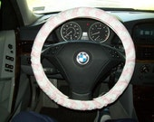 Baby Pink and White Chevron Steering Wheel Cover