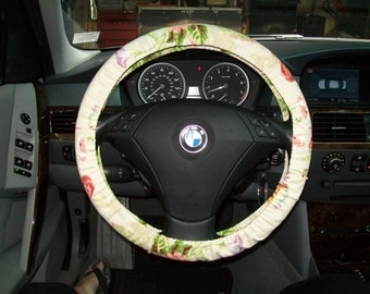 Soft Watercolor Floral Steering Wheel Cover