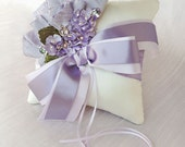 Reserved for Lisa - Garden Party Lavender Hydrangea Ivory Silk Ring Bearer Pillow
