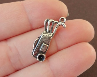 50 BULK Golf Bag Charms 25x11x2mm ITEM:I16