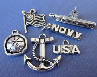 6 NAVY Theme Charms