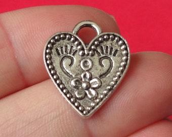 "10 Heart ""flower pattern"" Charms 17x20x1.5mm"