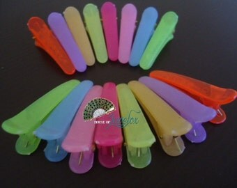 Plastic Alligator Hair Clips, Assortment - 50x (Choose your own colour)
