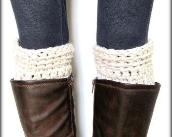 Boot Cuffs, Leg Warmers, Beige, Tan, Linen, Boot Socks, Boot Cuffs, Shoe Cuffs, Boot Topper, Boot Cuff- BUY one get one HALF OFF