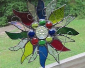 Stained Glass Suncatcher - Sun Star with Sunface - Multicolor