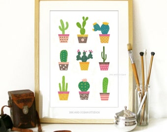 Cactus, South western  Downloadable Art Print. Cute retro, pop art,