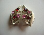 1940's Pink and Red Rhinestone Clip Earrings