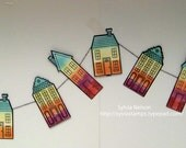 SALE...Rainbow House mini garland...6 feet of Houses....party decor....childrens birthday party....Stampin'Up stamps and supplies