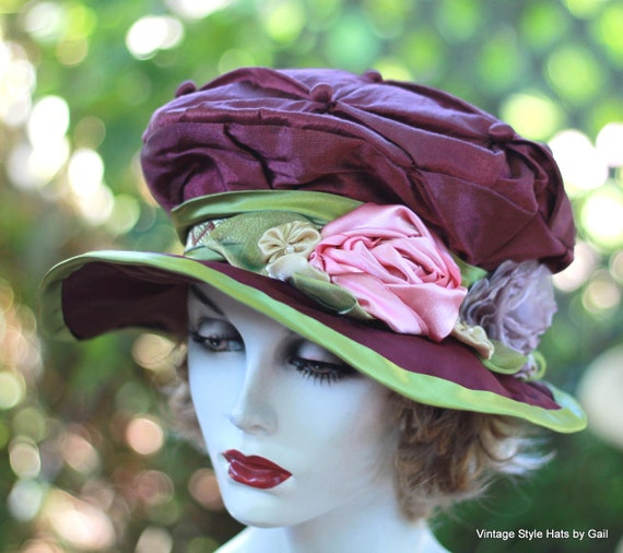 Edwardian Victorian Silk Fabric Hat Vintage Renaissance Downton Abbey Style Hats for Women