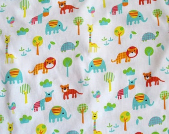 3493 - Animals Cotton Jersey Knit Fabric - 74 Inch (Width) x 1/2 Yard (Length)