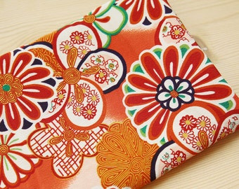 2521 - Japanese Kimono Chrysanthemum Floral Chirimen Crepe Fabric - 43 Inch (Width) x 1/2 Yard (Length)