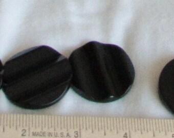 buttons, black, wavy ridge, large, 4 pieces, F, destash
