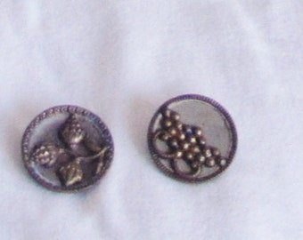 buttons, vintage buttons, steel, brass, designs, loop shank, tarnished, C, buttons