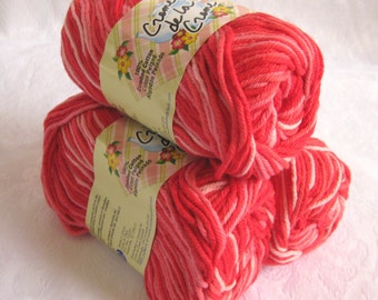 100%  cotton yarn, BOWL of CHERRIES, Creme de la Creme Cotton,  worsted weight, red white pinks