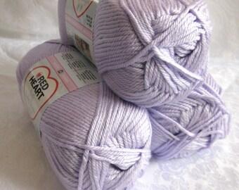 Red Heart Soft  yarn, LAVENDER,  medium worsted weight, light purple, Baby Steps