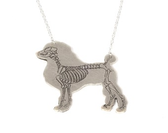Poodle Necklace - Silver Dog Necklace - Dog Jewelry - Skeleton Necklace - Poodle Gift