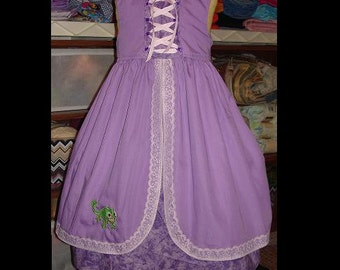 Rapunzel Custom Dress w/Corset Detail(-----)Sleeveless with Pascal Applique(-----)Grosgrain Ribbon and Lace(-----)12 Months to girls size 8