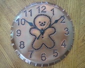 Gingerbread Man Clock Rustic Copper By Larry West