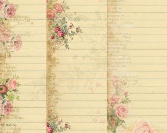 INSTANT DOWNLOAD - Stationary Paper Pack - Original Design  - Printable Digital Collage Sheets - Digital Download