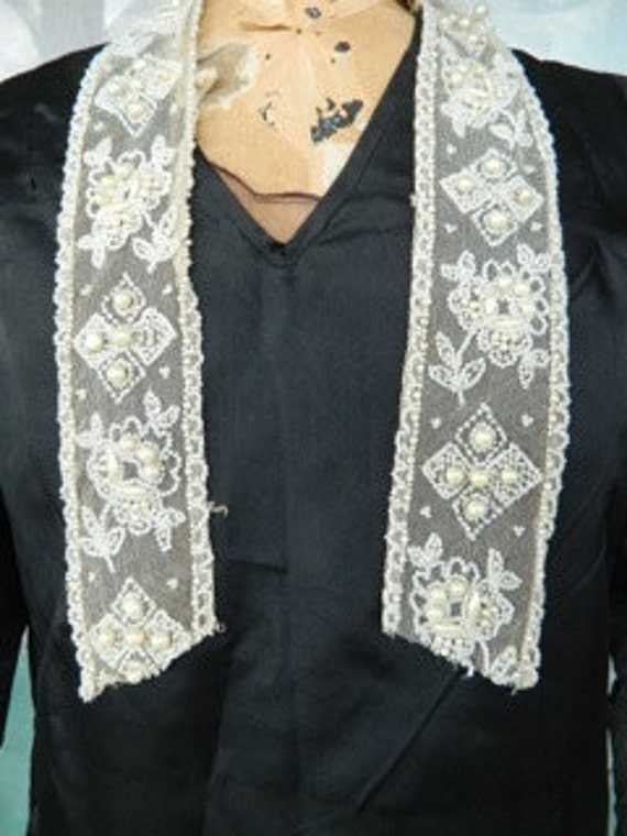 Vintage Bead and Pearl Trim on Mesh Lace