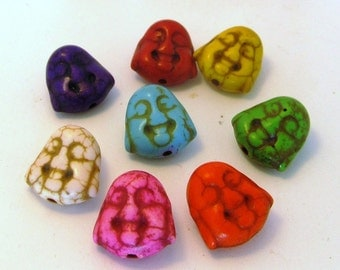 Set of 5 - Small Howlite Happy Buddha Head Beads