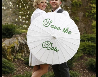 Save the Date parasol hand painted