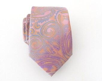 Mens Tie. Powder Pink Paisley Mens Necktie