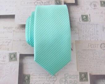 Mint Tie Mens Tie Mint Green Stripes Skinny Necktie With Matching Pocket Squrae