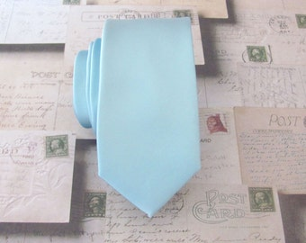 Celestial Blue Skinny Tie - Pastel Blue Powder Blue Skinny Necktie With Matching Pocket Square Option