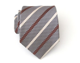 Mens Tie Brown Cream Necktie With Matching Pocket Square Option