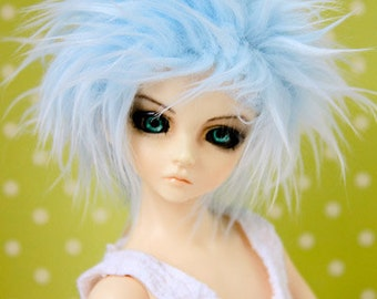 Akasarushi Baby Blue Fur Wig color Made for abjd doll size SD MSD tiny yosd and puki
