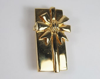 Wrapped Present Package Brooch Vintage 80s Jewelry
