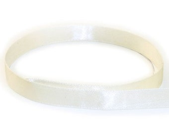 """20 Yard roll 1/4"""" Double Face USA Satin Ribbon ANTIQUE WHITE"""