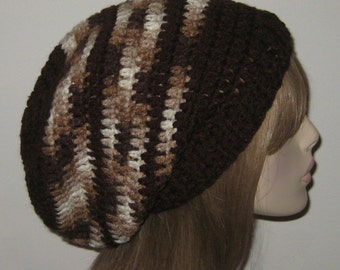 Chocolate and Shaded Brown Slouchy Beanie Warm winter dread hat dread tam