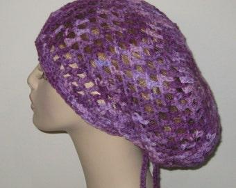 Shades of Purple Open Stitch Slouchy Beanie Dread Tam