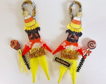 Rottweiler HALLOWEEN candy corn vintage style CHENILLE ORNAMENTS set of 2