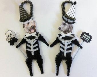 Irish Wolfhound SKELETON Halloween vintage style CHENILLE ORNAMENTS set of 2