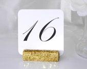 Table Number Holder + Gold Glitter Table Number Holder- Set of 10