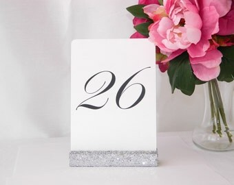 Silver Wedding Table Card Holders | Silver Glitter Wedding Table Number Holder - Set of 10