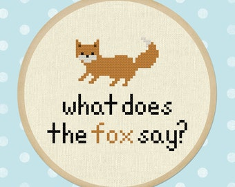 What does the fox say. Fox Modern Simple Cute Counted Cross Stitch Pattern PDF File. Instant Download