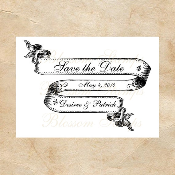Ribbon banner save the date wedding rubber stamp handmade for Wedding dress rubber stamp