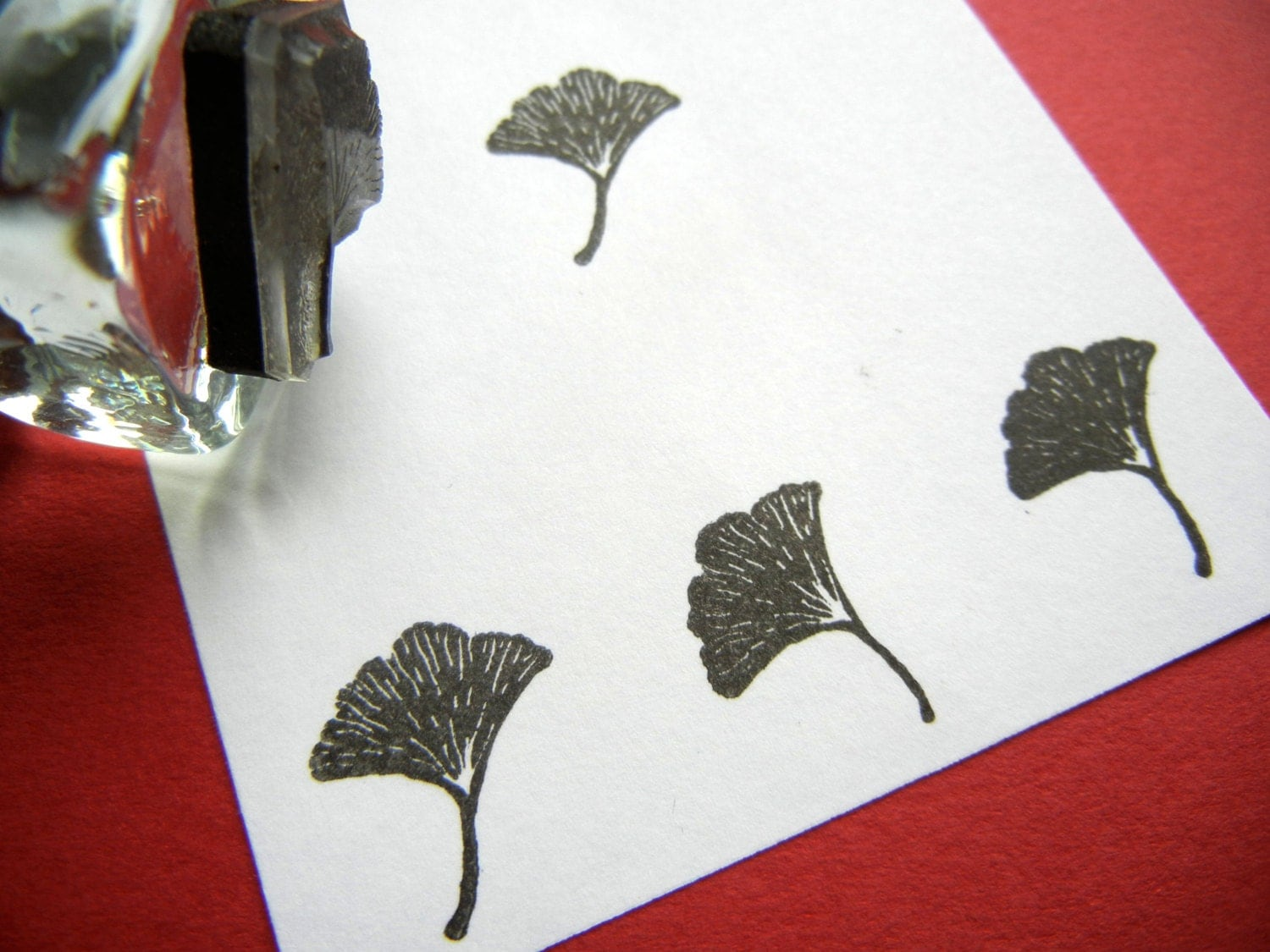 Tiny Ginkgo Leaf Rubber Stamp Handmade Rubber Stamps By